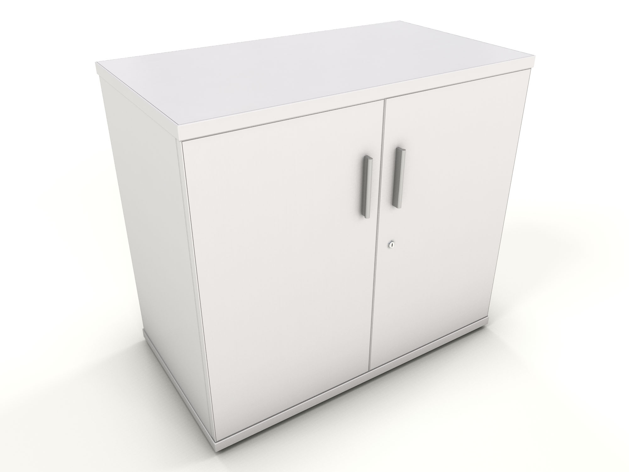 White desk high storage cupboard icarus office furniture for Storage in cupboards