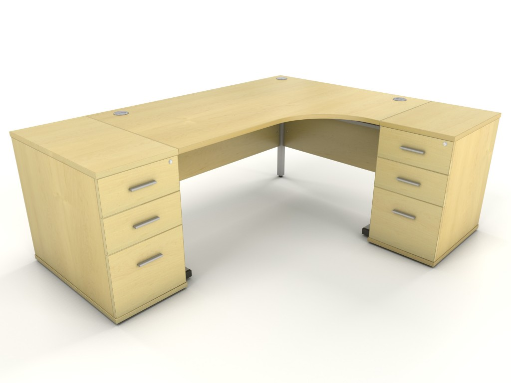 Maple Corner Desk With 2 X Desk High Drawer Units