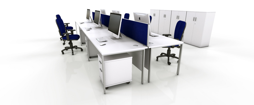 White Office Furniture Range - Blue