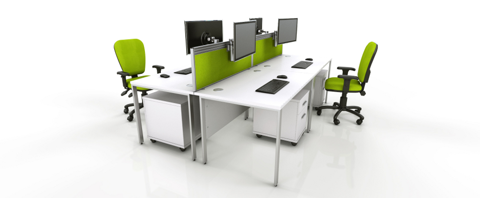 White Office Furniture Range - Green