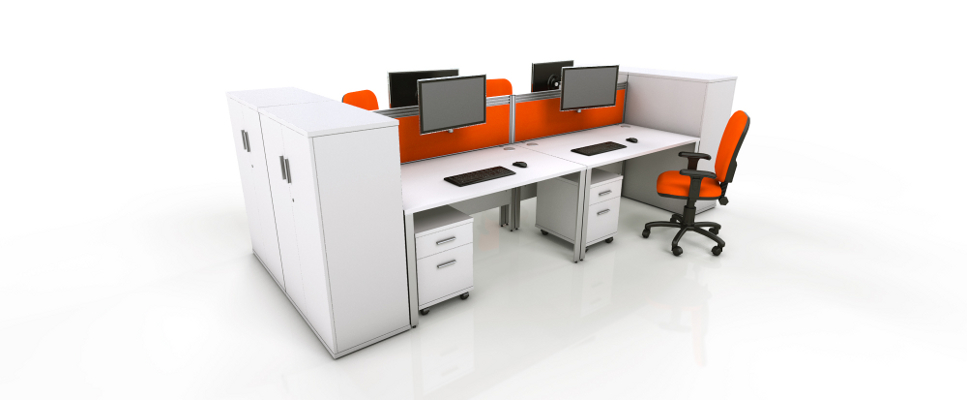 White Office Furniture Range - Orange