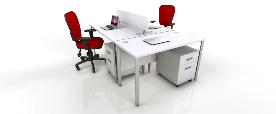 White Office Furniture Range - Red