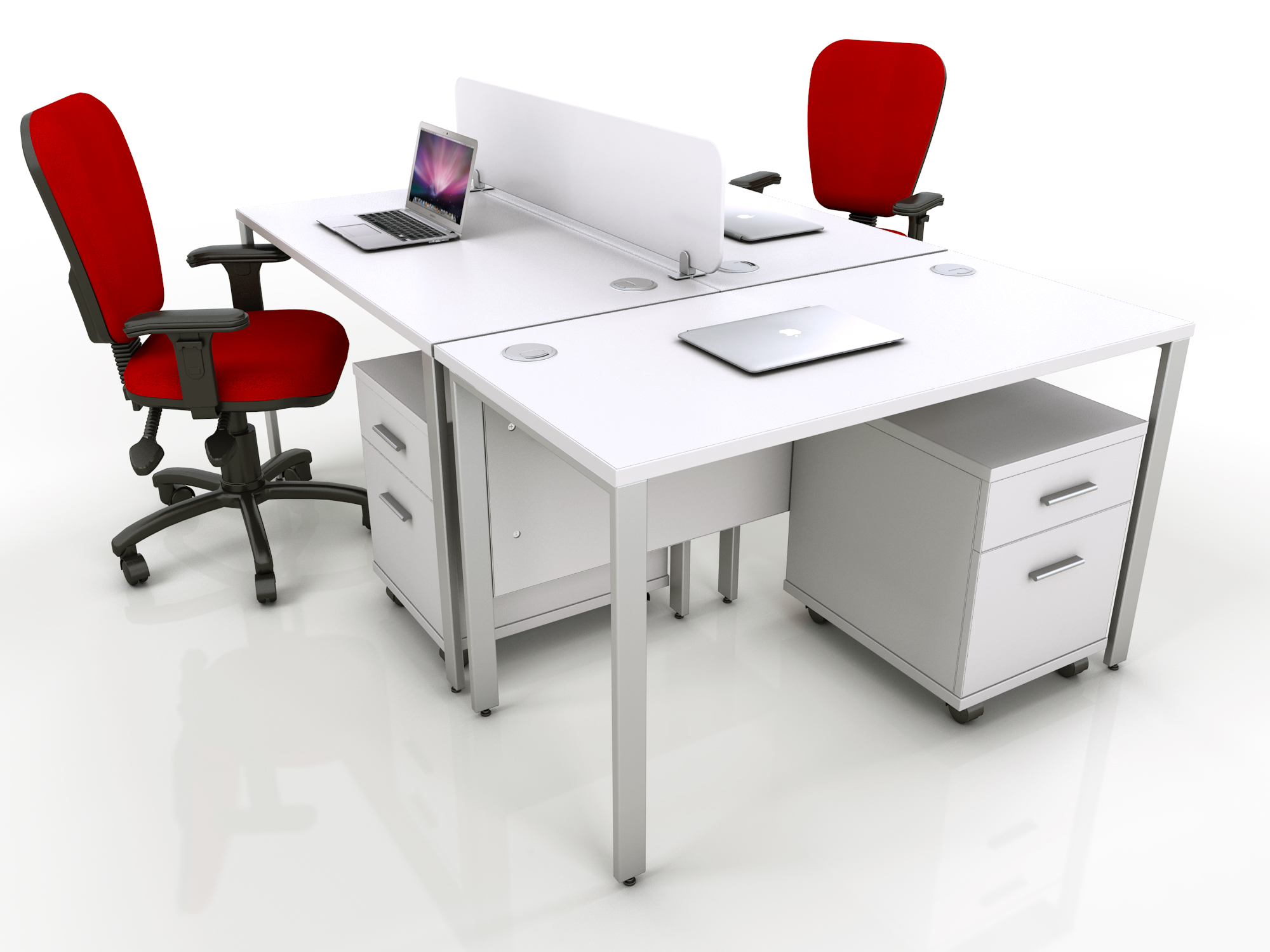 white bench desks and mobile pedestals