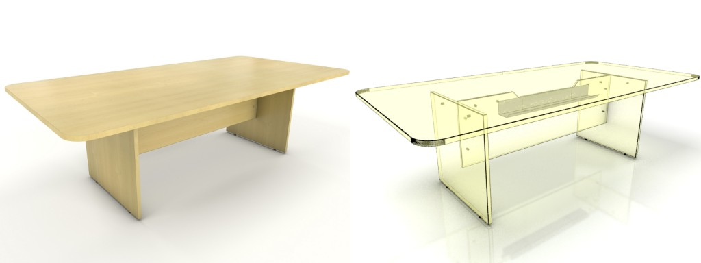 rectangular meeting table and cut out