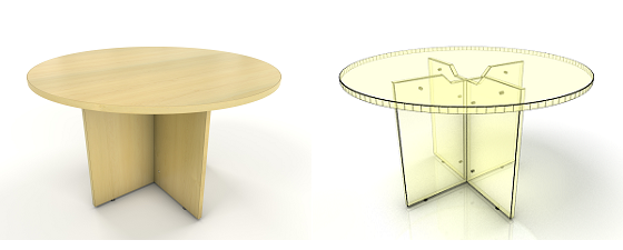 maple round meeting table with cutout