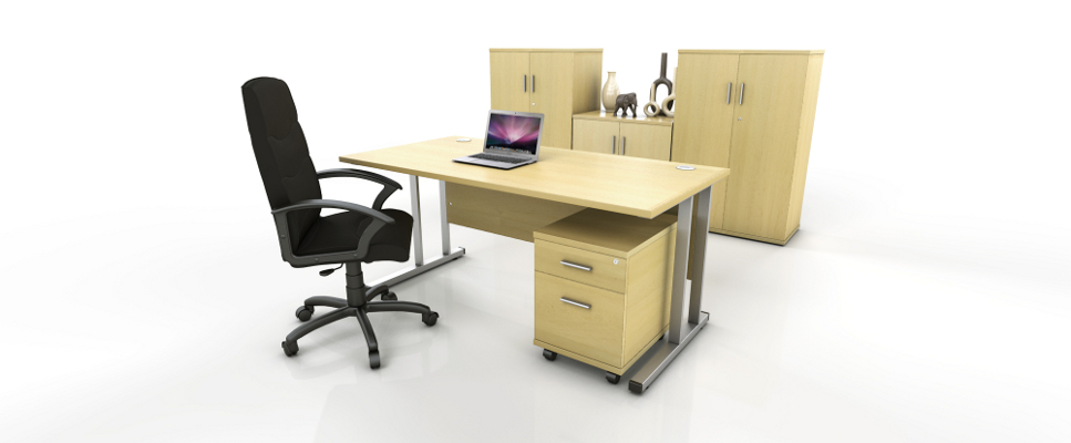 maple rectangular desk with storage