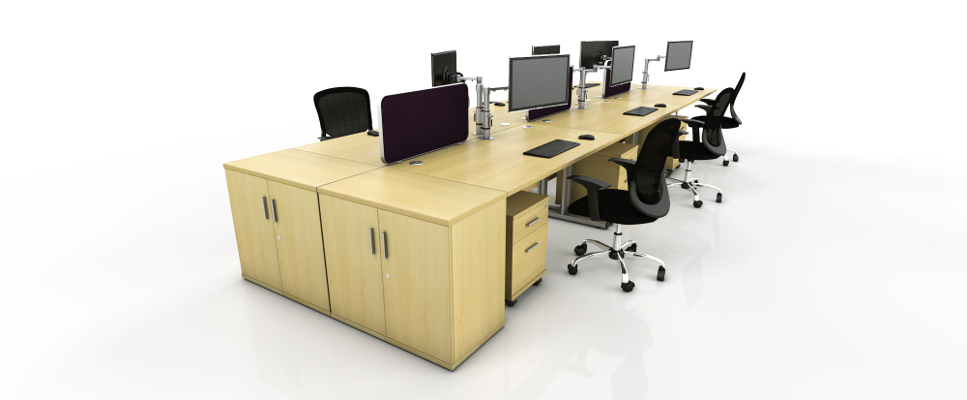 maple straight desk configuration