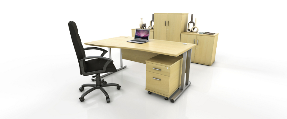 maple wave desk with storage