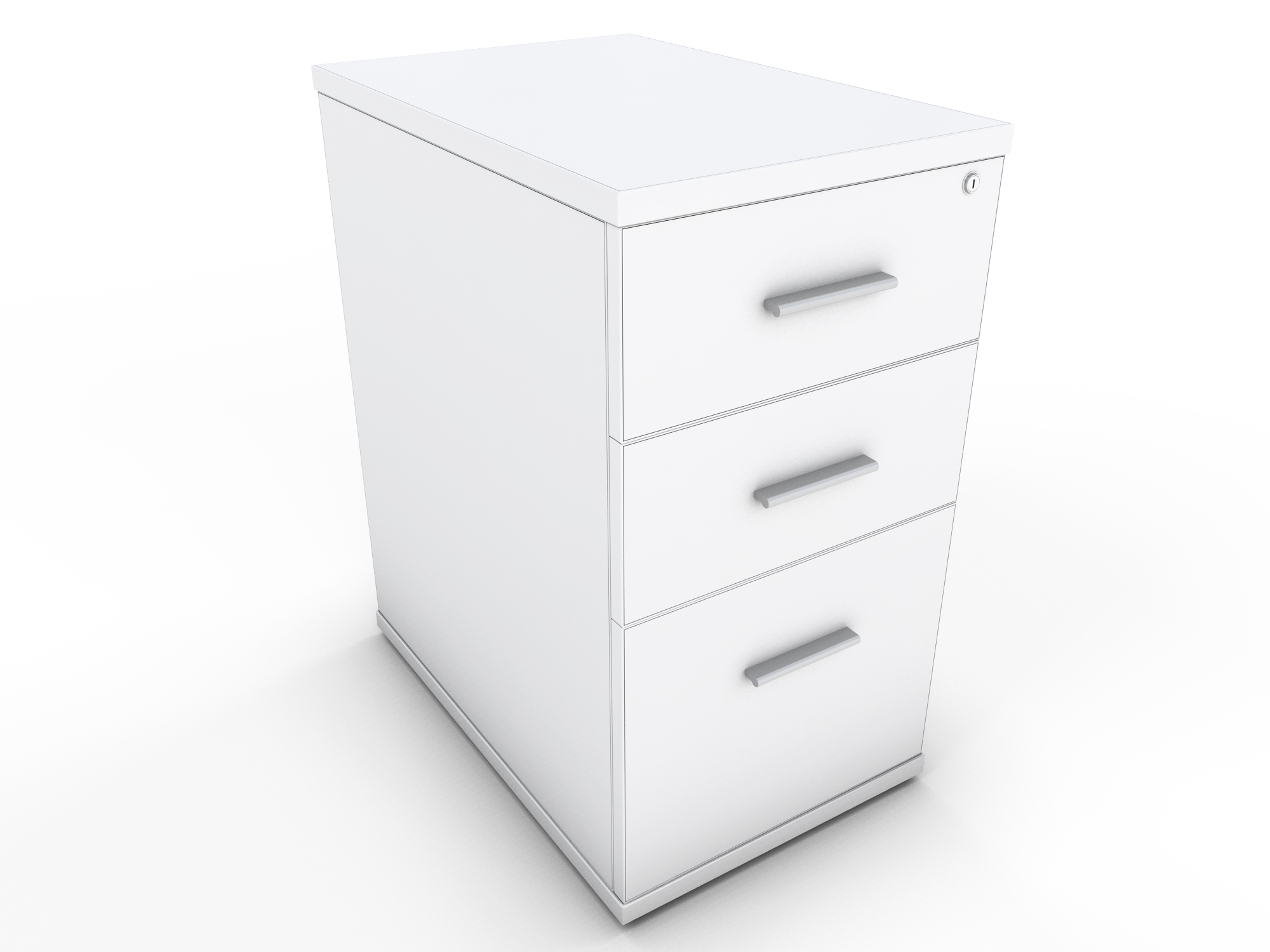 White Desk High Drawer Unit