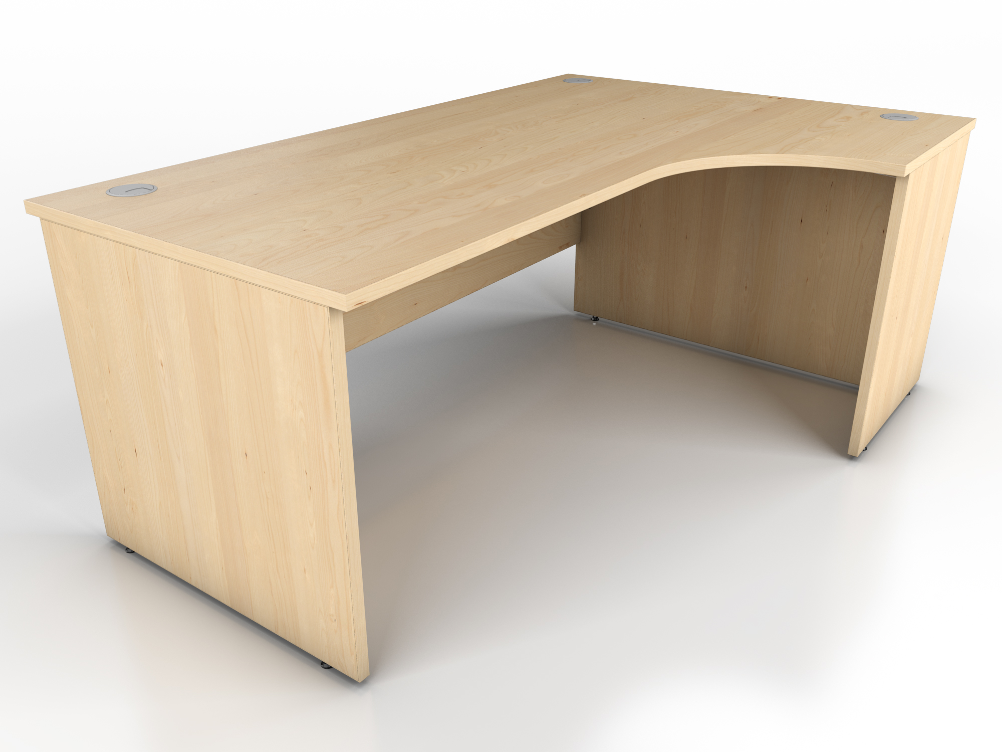 maple panel end radial desk icarus office furniture