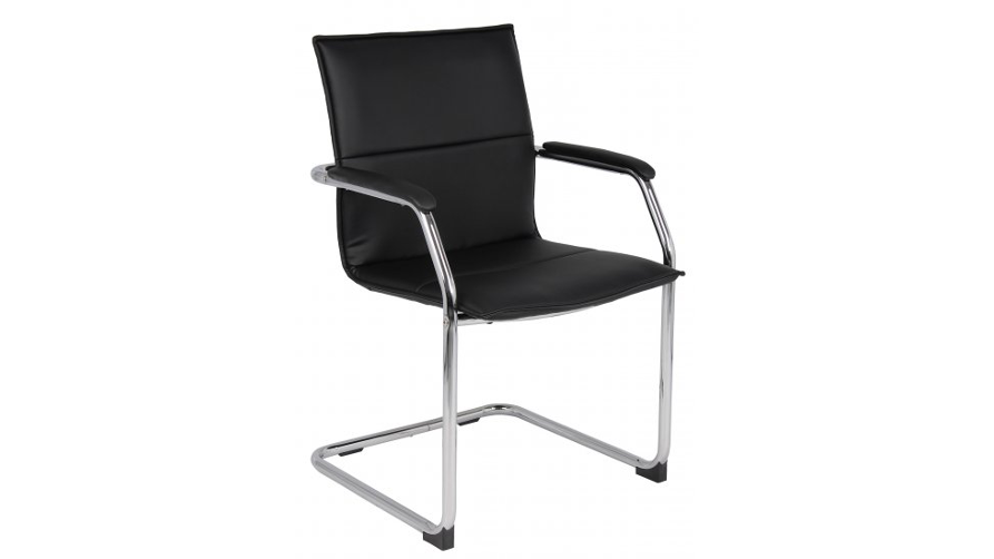 Office Chairs Black Leather Cantilever Chair Icarus