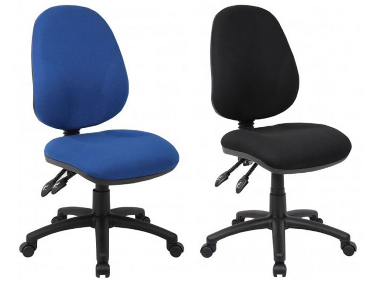 blue & black computer operator chairs